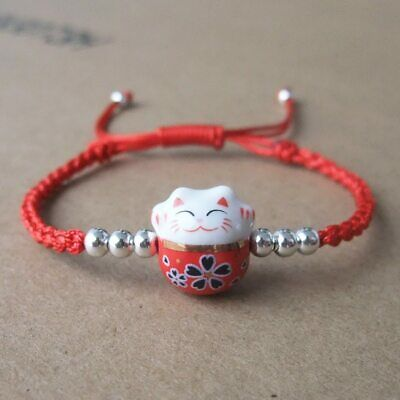 Cute Lucky  Cat  Ceramic Beads  Bracelet 925 Sterling Silver Red Rope Bangle