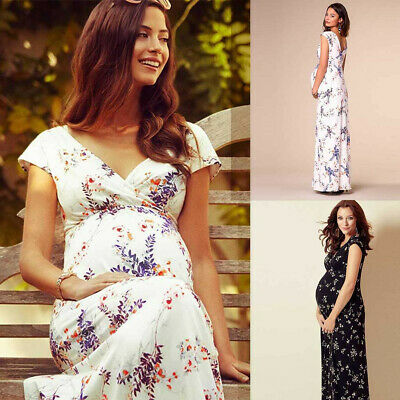 UK Women's Floral Short-Sleeved Dress Pregnant Women Maternity Long Dress 8-16