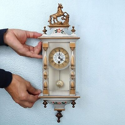 Vintage German BLACK FOREST Miniature Wall Clock Baby Mini UNUSUAL! Mid Century