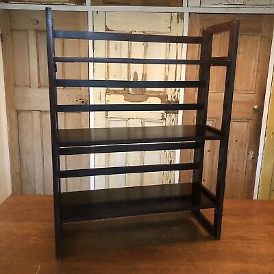 Vintage Wooden Folding Bookcase Campaign Style Furniture