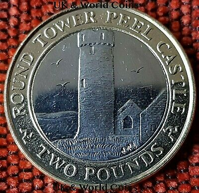 SCARCE IOM Manx £2 Round Tower of Peel Castle 2014 Slightly Circulated