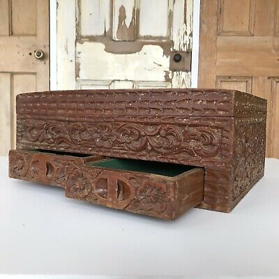 Vintage Carved Wooden Box With Drawers And Lid Jewellery Box