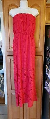 EXC Anthropologie JADE Melody Tam Hot Pink Strapless Tube Maxi lace dress M