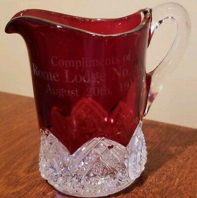 1911 Rome Lodge NO. 854  COMPLIMENTS OF date 8/20/11 Pilgrim Glass? DISPLAY ITEM