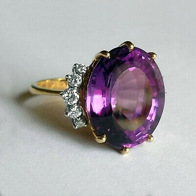Hans Stern Diamantring mit Amethyst - Gold 750 Pt 950 - H.Stern Diamond Ring RAR