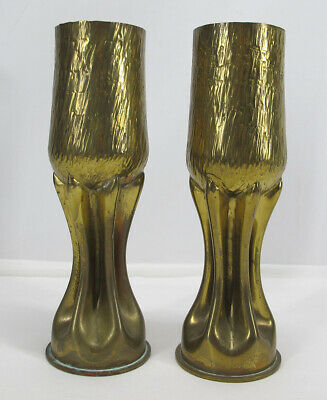 Antique 1917 WWI Pair Arts & Crafts Hammered Goblet Mantle Vases Trench Art  yqz