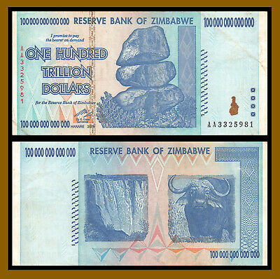 Zimbabwe 100 Trillion Dollars, 2008 Serie AA, P-91, Authentic Circulated Used