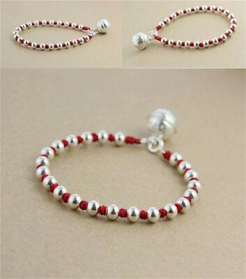 Real 925 Sterling Silver Lucky Bell Red Bracelet For Women  Bangle Wax String