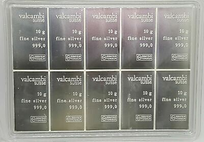Valcambi Silver CombiBar - 10 x 10g 99.999 Silver Bars - Certified Assay Card