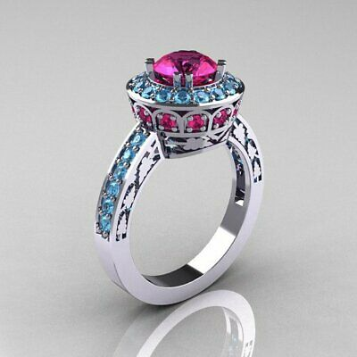 Charm Red Crystal Silver Plated Womens Retro Wedding Rings Jewelry Gift SZ 6-10