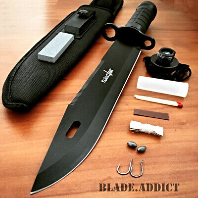 "15"" Tactical Hunting Rambo Fixed Blade Knife Machete Bowie w/ Survival Kit NEW a"