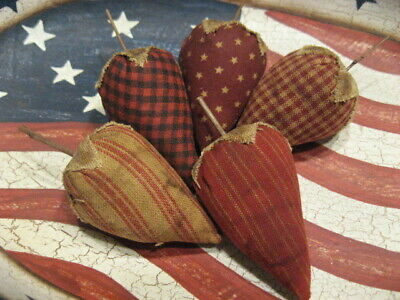 Primitive Americana Strawberries Red Fabric Bowl Fillers Set of 5 (E)