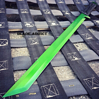 "27"" Full Tang Ninja Machete Katana Sword Zombie Tactical Survival Knife Green -F"