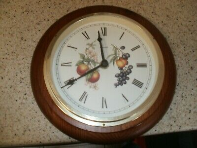 "Vintage Marks & Spencer Ashberry Wall Clock - Wood Surround Clock 8.25"" Dia"