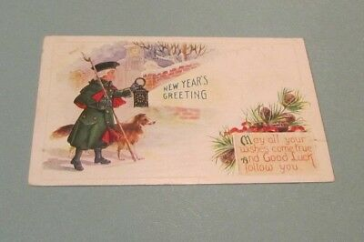 1910 Era Colonial Man with Collie Dog Embossed Happy New Year Holiday Postcard