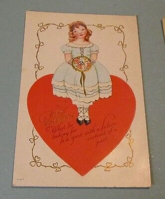 1925 Pretty Little Girl on Large Heart Valentine's Day Holiday Embossed Postcard