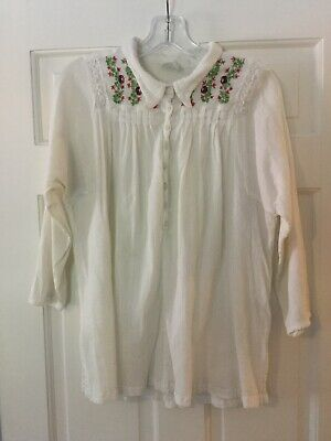 ce7d1c5e47ce1 Free People Embroidered Gauze Blouse Top Ivory L Large Boho Buttons Crochet