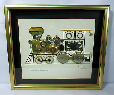 Union Pacific Railway David of London Horological Montage Watch Parts Framed
