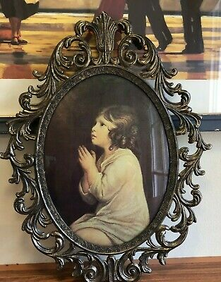 Vintage Convex Bubble Glass Picture Ornate Metal Frame Little Girl Praying