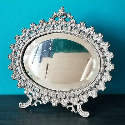 """Antique VICTORIAN ORNATE CLOVER CAST METAL 10"""" Oval EASEL Mirror Picture Framed"""
