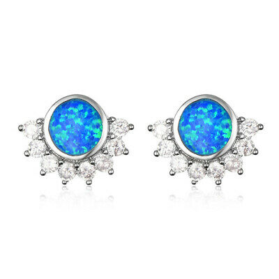 Fashion Woman Blue Round Fire Opal White Crystal 925 Silver Charm Drop Earrings