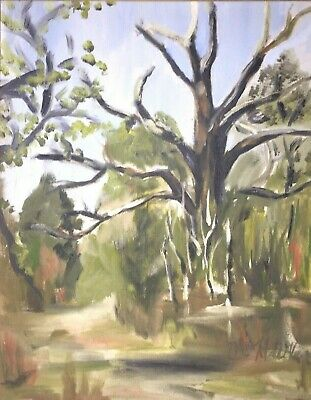 Signed Vintage Painting of Landscape and Trees