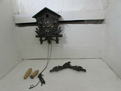 Antique German Blackforest GK Bahnhausle Railroad Cuckoo Clock For Repair
