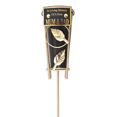 In Loving Memory MUM & DAD Black & gold Grave Memorial Vase Spike