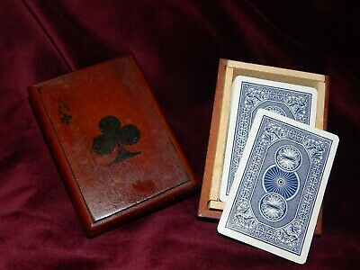 Vintage Wooden Playing Card Box ~ Ace Of Clubs Decoration With Playing Cards.