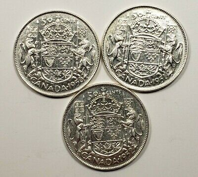 1950 1951 1952 Canada Silver 50 Fifty Cents 3 Different Coin Lot
