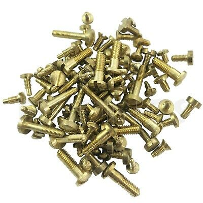100 Clock screws mixed size GOLD for movements cases bells spares/repairs