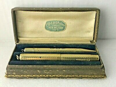 Antique Conklin rolled gold fountain pen and pencil set with box CD & HD Pulver