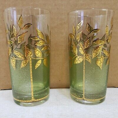 Culver Green Gold Bamboo Pattern Vintage Ice Tea Water Glasses Tumblers Set of 2