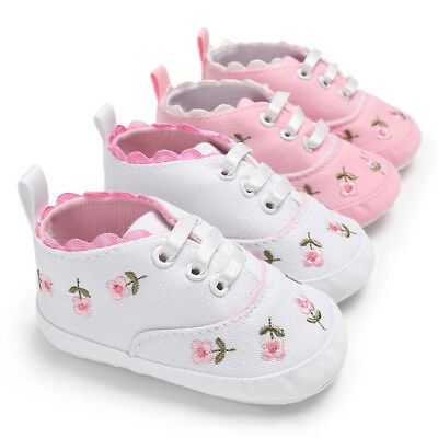 Newborn Baby Girl Walker Soft Sole Anti-slip Shoes Trainers Sneakers Canvas