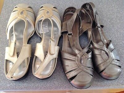 Nwt Classique Lot Of 2 Pairs Womens Sandals Size 11M, Pewter, Metallic