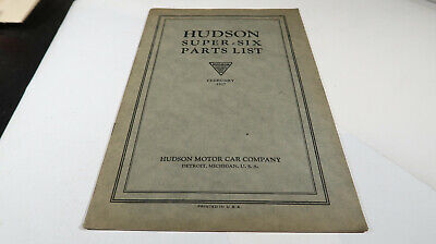 February 1927 Hudson Motor Car Company Super Six Parts List