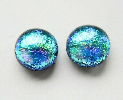 Genuine Hand Crafted Dichroic Glass Stud Earrings - Iridescent Turquoise