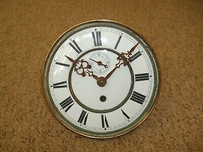 Antique Enamel Face Longcase Grandfather Clock Movement For Spares Or Repairs.