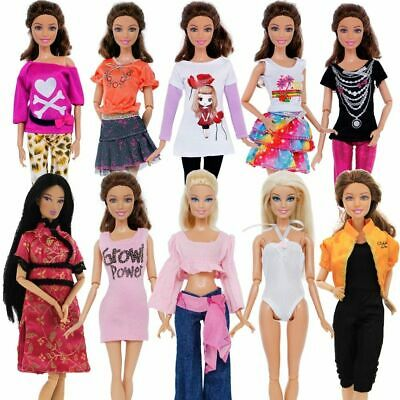 5 Set Handmade Fashion Outfit Daily Casual Wear Blouse Shirt Clothes Barbie Doll
