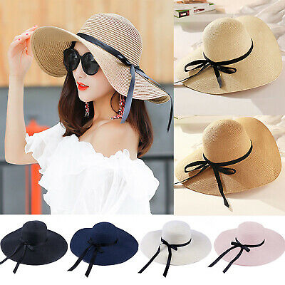 Ladies Womens Large Wide Brim Straw Holiday Summer Sun Beach Floppy Hat Foldable