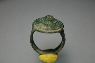 Ancient Interesting Medieval Bronze Ring  10th  century AD
