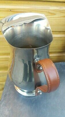 Rare Vintage Water Jug Pitcher Silver Plate Leather Handle