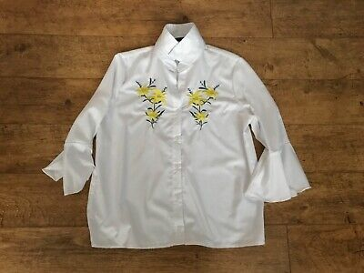 Women's Quiz white shirt with yellow flower embroidery UK 14