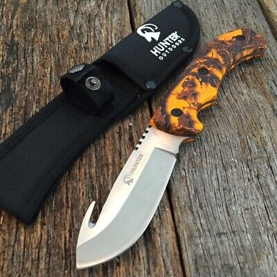 "9"" Camo HUNTING SURVIVAL FIXED BLADE Tactical Knife Full Tang GUT HOOK OC a"