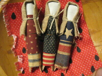 Primitive Americana Patriotic Clothes Pin Dolls Bowl Fillers Summer 4th of July