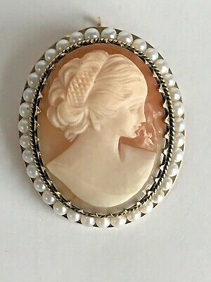 Antique / Vintage 14K Yellow Gold & Pearl  Cameo Necklace Pendant & Brooch Pin