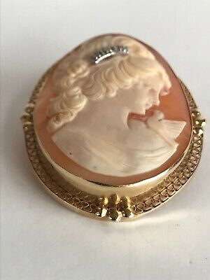 Antique / Vintage 14k Solid  gold Cameo pendant & brooch pin  w/ 0.10ct Diamomd