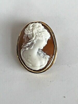 Antique / Vintage 18K Yellow Gold  Cameo Necklace Pendant & Or Brooch Pin