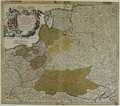 Poland 1739 Original Antique Map Lithuania Latvia Russia Belarus Baltics Homann