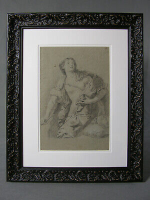 After Guido Reni Lucretia Old Master Drawing by Giuseppe Diamantini 17-18th Cent